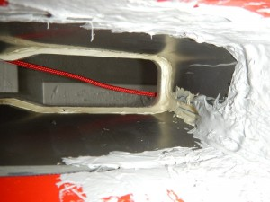 Vue de dessous et vers l'avant du puits de dérive